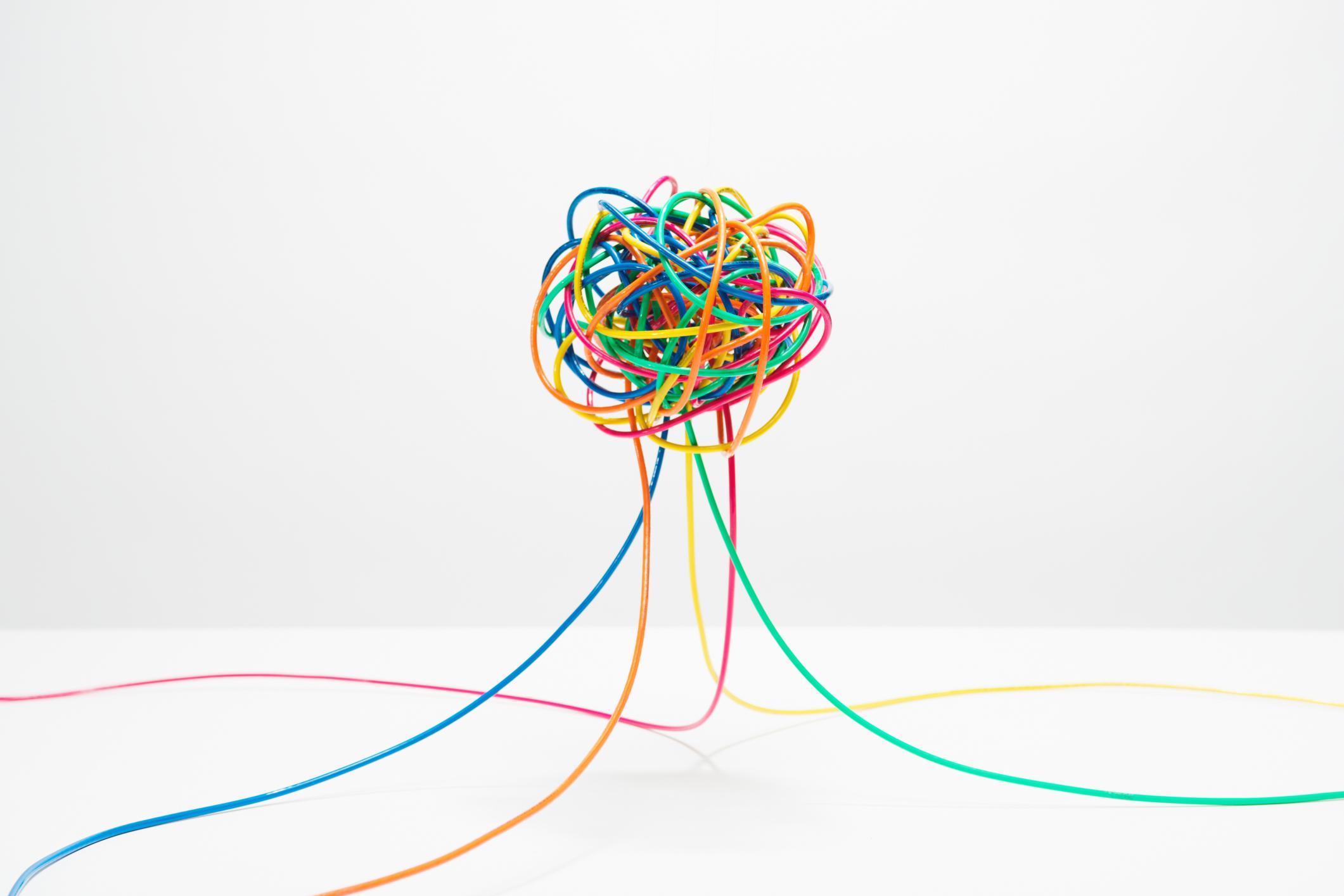 Tangle of Multi Colored Wire