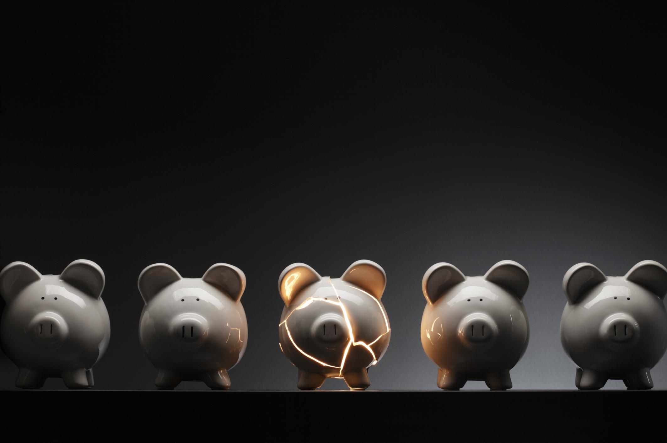 Cracked piggy bank